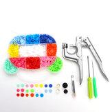 Alicate de pressão DIY + 200 Pcs T5 + 30 Pcs T8 Resina Snap Botões Prendedor de 11 cores