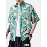 Mens Parrot Leaf Print Light Casual Short Sleeve Shirts