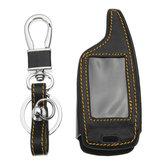 4 Knoppen Twee Weg Auto Alarm Systeem Lederen Autosleutel Case Bag Voor Magicar 5/6 LCD