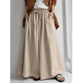 Women Solid Color Casual Elastic Waist Knotted Wide Leg Plus Size Pants With Pocket