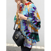 Women Colorful Flowers Printing Puff Sleeve Back Button Casual Blouse