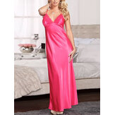 Lace Patchwork V-neck Rayon Soft Sling Maxi Nightgown