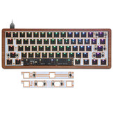 [Version boîtier en bois] Geek Customized GK61 RGB Keyboard Kit personnalisé Bluetooth filaire Dual Mode Hot Swappable 60% PCB Montage Plate