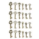 24 Antique Old Vintage Look Skeleton Keys Lot Bronze Tone Pendants Jewelry Mix Set