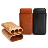Genuine Leather 3 Count Tube Cedar Travel Holder Case Humidor Portable Protector Case