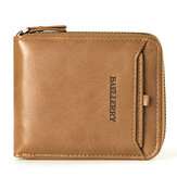 Baellerry Men Vintage PU Leather Short Zipper Card Holder Wallet For Men