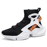 Men's High Top Sneakers Letters Casual Shoes Slip Resistant Comfortable Outdoor Casual Sneakers For Men