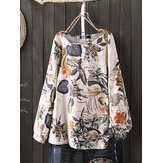 Women Cotton Plant Floral Print Crew Neck Long Sleeve Loose Vintage Blouses