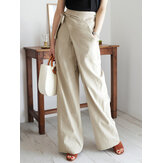 Women Solid Color Asymmetrical Bandage Design Breathable Wide Leg Pants