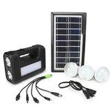 AC 110V-240V Solar Panel Power Generator LED Light Lamp USB Charger Home Outdoor System Kit