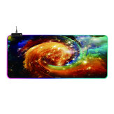RGB Glowing Mouse Pad Whirlwind Soft Rubber Anti-slip 14 Lighting Mode Large Gaming Keyboard Pad Desktop Protective Mat for Home Office Working Gaming