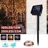 12M 22M LED Solar Güç Dize Işık 8 Modu Bakır Tel Peri Outdoor Bahçe Su Geçirmez Tatil Dekoratif Lamba