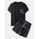 Mens Camo Print Sets Short Sleeve Drawstring Shorts Casual Two Pieces