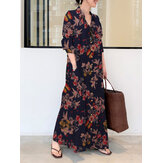 Women Floral Print Button Up Retro Long Sleeve Maxi Shirt Dresses With Pocket