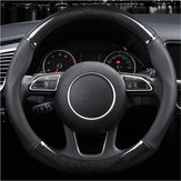 38cm Carbon Fiber Leather Stitching Car Steering Wheel Covers Anti Slip Black Universal