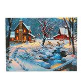 1 sztuka LED Luminous Canvas Malarstwo Zima Śnieg Kabina Jelenie Ściana Dekoracyjna Obraz Dekoracja Biura W Domu