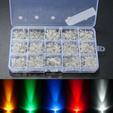 750Pcs 3mm Diodes LED Light Yellow Red Blue Green White Assortment DIY Kit