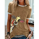Cartoon Giraffe Animal Print Crew Neck Short Sleeve T-shirts