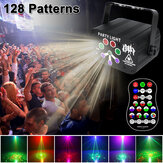 128 Pattern Stage Light Voice Sound Control Disco DJ RGB UV Laser LED Party Light Projector USB Oplaadbaar