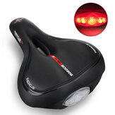 SGODDE Bicycle Saddle Memory Foam Soft Dual Shock Absorbing Breathable Bike Cushion Bike Seat with Taillight Cycling