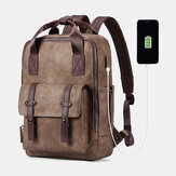 Men Multifunction USB Charging Bag Solid Large Capacity Backpack
