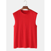 Mens 100% Cotton Breathable Solid Color Casual Tank Tops