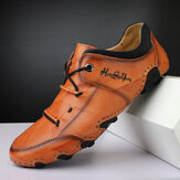 Men Hand Stitching Cowhide Leather Soft Slip Resistant Lace Up Casual Driving Shoes