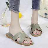 Frauen einfarbig Letter Strap Soft Bottom Chic Slide Sandalen