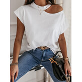 Women Solid Color Simple Half Strapless Design Casual Short Sleeve T-Shirts