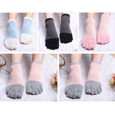 Women Girls Simple Five-Toe Socks 5-Pair Set Ankle Socks