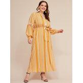 Plus Tamanho Mulheres Stripe Print Tassel Puff Sleeve Maxi Dress