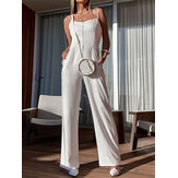Vacation Solid Color High Waist Sleeveless Sling Casual Wide Leg Jumpsuit