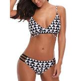 Bikini regolabili con cinturino a vita media imbottiti regolabili