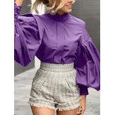 Женщины воротник-стойка с рукавами-фонариками плиссированные стильные повседневные однотонные блузки
