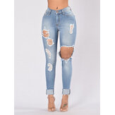 Casual Mujer Pocket Hollow Ripped Long Denim Jeans