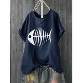 Mulheres Casual Imprimir Fish Bone Manga Curta Cute T-Shirts