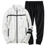 ErkekİlkbaharSonbaharRahatGevşekFermuar Spor Takım Elbise