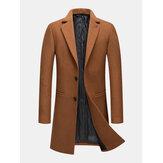 Casacos de malha masculinos de lã com peito único de comprimento médio