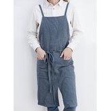 Solid Color Belted Pockets Linen Cotton Vintage Apron Dress