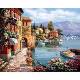 Sans cadre bricolage peinture par numéros port peinture à l'huile 40 * 50 cm paysage toile peinture décor à la maison pour salon mur oeuvre