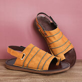 LOSTISY Hook Loop Clip Toe Handmade Stitching Casual Non Slip Slingback Sandals