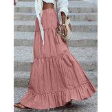 Kadın Pamuk Pileli Fırfır Katı Tatil Elastik Wais Maxi Etekler