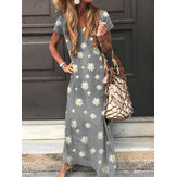 Daisy Print V-neck Short Sleeve Casual Loose Maxi Dress For Women