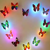 Miico Colors Changing LED Intermitente Mariposa Noche Luz Decorativa 3D Home Decor Pegatinas