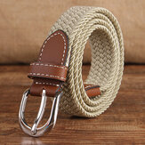 95CM Women High Elastic Belt Pin Buckle Knitting Canvas Jeans Waistband