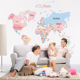 Colored  World Map PVC Wall Stickers Removable Waterproof Office Living Room Bedroom Wall Sticker