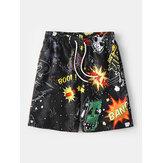 Mens Funny Graffiti Print  Drawstring Pocket Holiday Casual Black Board Shorts