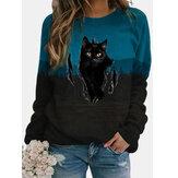 Women Black Cat Print Contrast Color Long Sleeve O-Neck Casual Pullover Sweatshirt