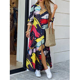Women Graffiti Print Lapel Button Front Double Pockets Long Sleeve Shirt Dress
