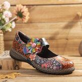 SOCOFY Retro tłoczone kwiatowe łączenie płaskich butów z prawdziwej skóry